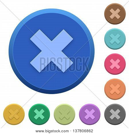 Set of round color embossed cancel buttons