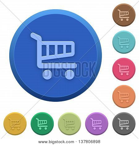 Set of round color embossed shopping cart buttons