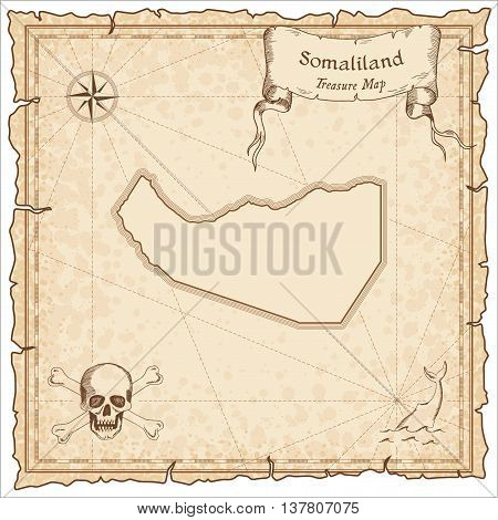 Somaliland Old Pirate Map. Sepia Engraved Template Of Treasure Map. Stylized Pirate Map On Vintage P