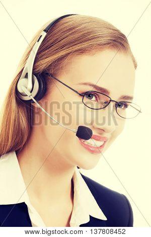 Beautiful caucasian business woman at call center.