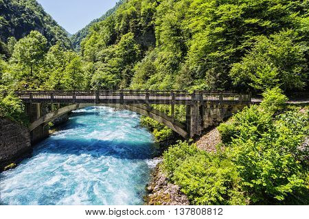 Landscape In Abkhazia With Stone Bridge Over River