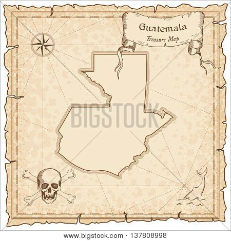 Guatemala Old Pirate Map. Sepia Engraved Template Of Treasure Map. Stylized Pirate Map On Vintage Pa