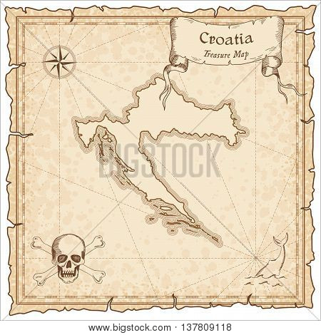 Croatia Old Pirate Map. Sepia Engraved Template Of Treasure Map. Stylized Pirate Map On Vintage Pape