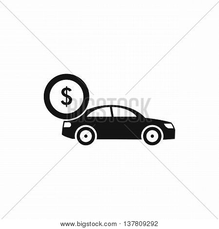 Car and dollar sign icon in simple style isolated vector illustration