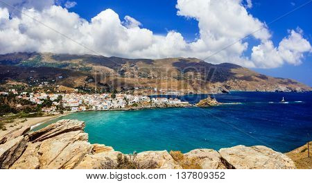beautiful Greek islands series - Andros, view of Chora. Cyclades