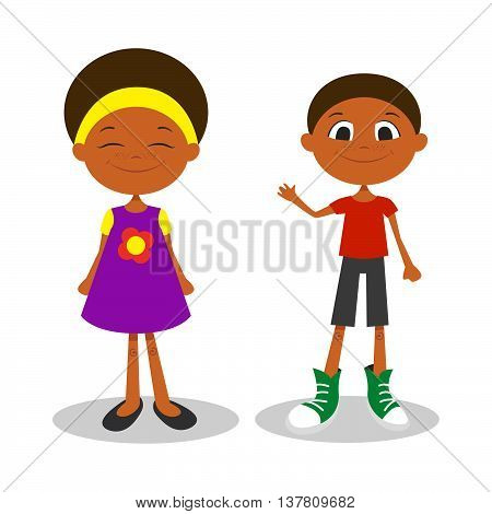 Vector illustration of happy young afro american boy and girl with freckles