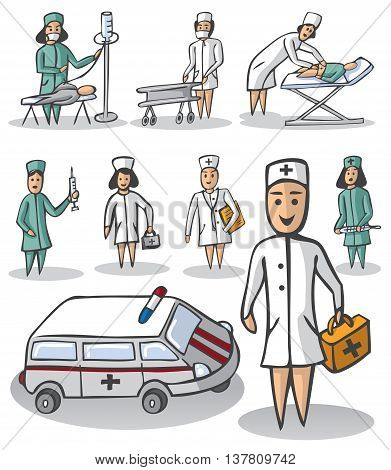 illustration on white background characters a nurse and a doctor ambulance