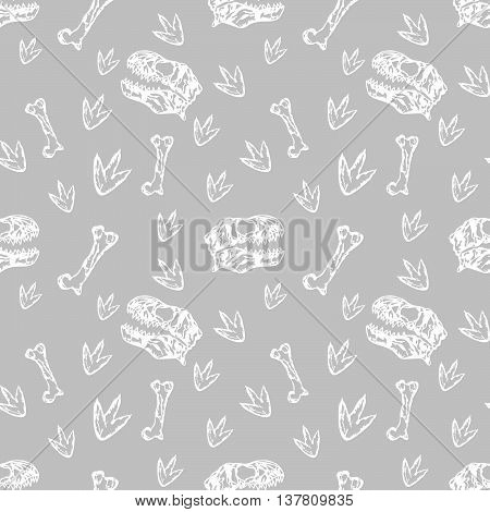 Vector seamless Dinosaurs pattern with bones and skull