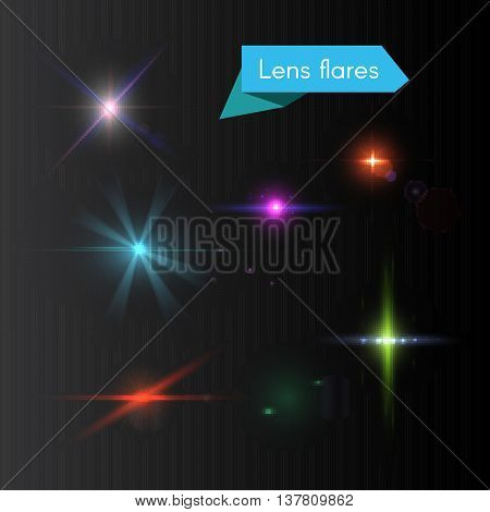 Vector set of lens flares and glowing colorful flash elements