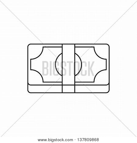 Packed dollars money icon in outline style isolated vector illustration