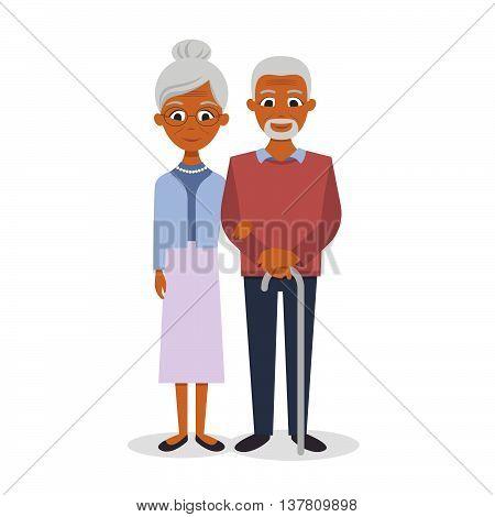 Vector illustration of happy smiling senior couple