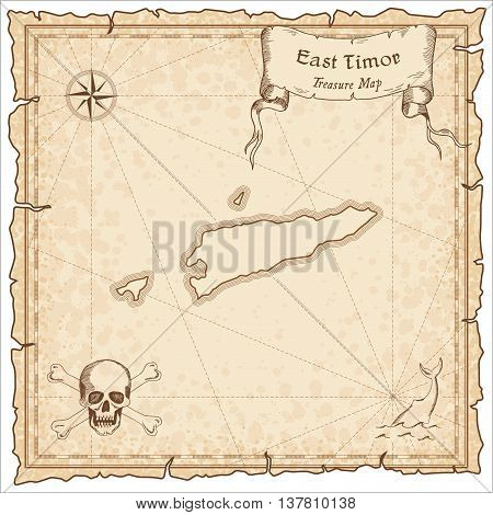 Timor-leste Old Pirate Map. Sepia Engraved Template Of Treasure Map. Stylized Pirate Map On Vintage