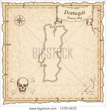 Portugal Old Pirate Map. Sepia Engraved Template Of Treasure Map. Stylized Pirate Map On Vintage Pap