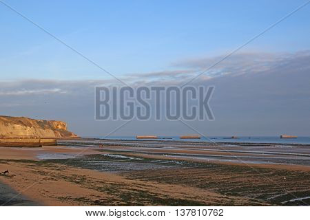 Mulberry harbours in Arromanches beach in France