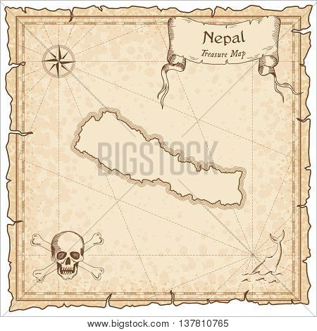 Nepal Old Pirate Map. Sepia Engraved Template Of Treasure Map. Stylized Pirate Map On Vintage Paper.