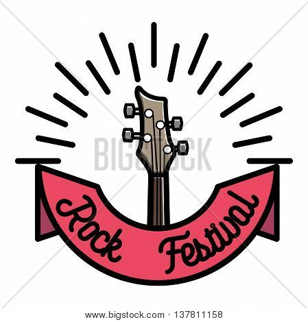 Color vintage rock emblem. Music theme. Template for poster, cafe, banner, flyer, project or your art works.