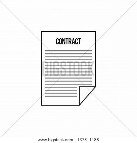 Contract icon in outline style isolated vector illustration