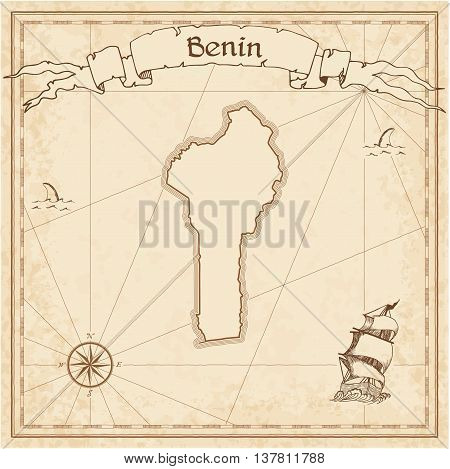 Benin Old Treasure Map. Sepia Engraved Template Of Pirate Map. Stylized Pirate Map On Vintage Paper.