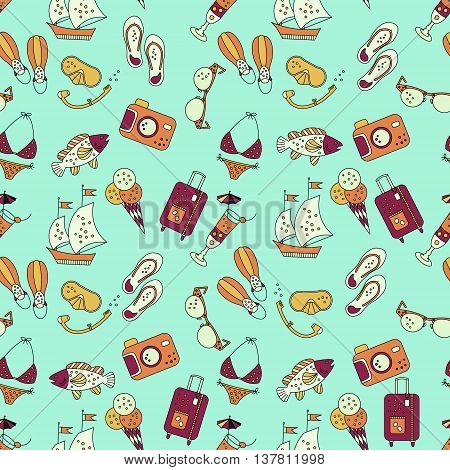 Beach holiday vector seamless pattern. Pattern with summer sea icons about summer vacation. Flippers, step-ins, mask, cocktail, suitcase, sailboat, swimsuit, ice cream, sunglasses fish camera