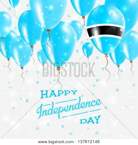 Botswana Vector Patriotic Poster. Independence Day Placard With Bright Colorful Balloons Of Country