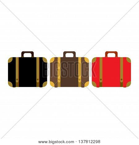 Suitcase set icon. Flat design style modern vector illustration. Elements in flat design. Red, black and brawn suitcases