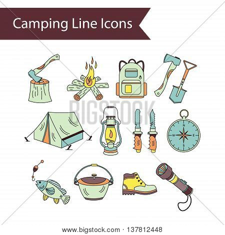 Camping holiday vector line icons. Color vector icons - wood, fire, kerosene lamp, lantern, tent, knife, backpack fishing compass shoes