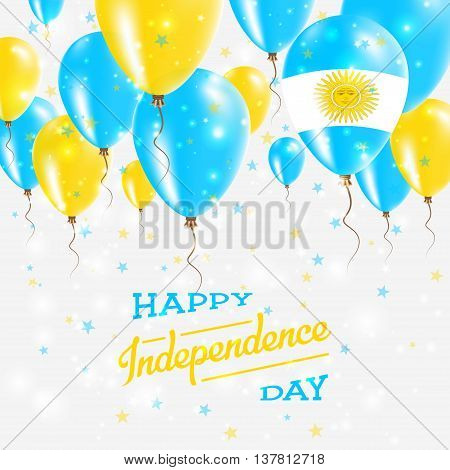 Argentina Vector Patriotic Poster. Independence Day Placard With Bright Colorful Balloons Of Country