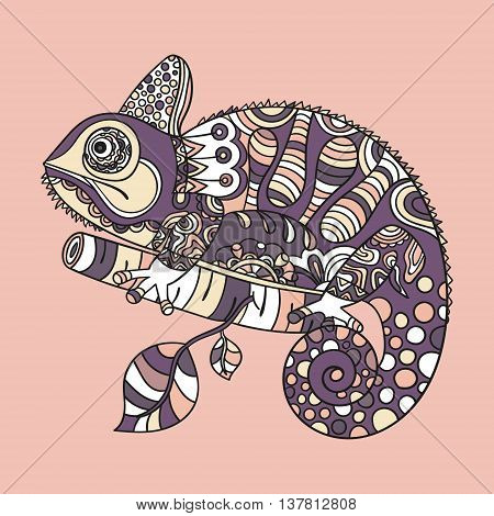 Hand drawn chameleon. Ethnic tribal styled pattern. Colored zentangle lizard. Boho design. Vector.