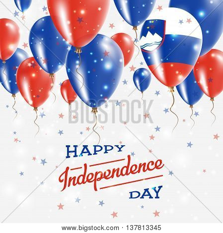 Slovenia Vector Patriotic Poster. Independence Day Placard With Bright Colorful Balloons Of Country