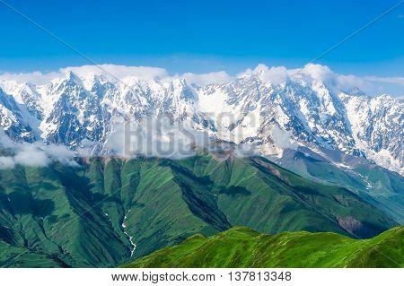 Big snow capped mountains in Georgia (Svaneti)