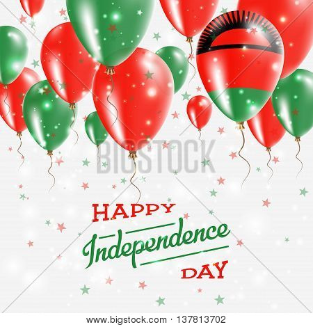 Malawi Vector Patriotic Poster. Independence Day Placard With Bright Colorful Balloons Of Country Na
