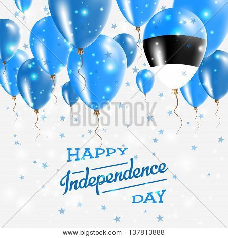 Estonia Vector Patriotic Poster. Independence Day Placard With Bright Colorful Balloons Of Country N