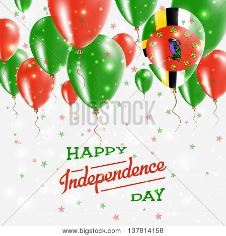 Dominica Vector Patriotic Poster. Independence Day Placard With Bright Colorful Balloons Of Country