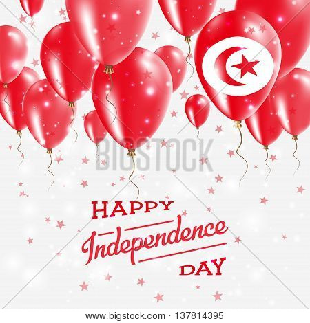 Tunisia Vector Patriotic Poster. Independence Day Placard With Bright Colorful Balloons Of Country N