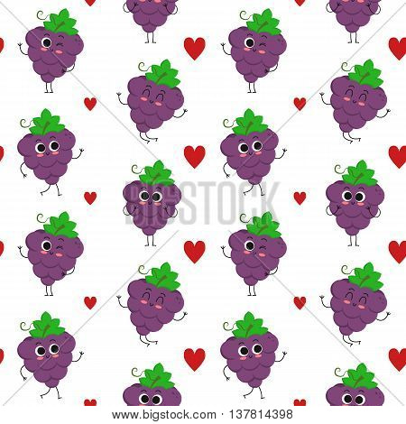 Grapes vector seamless pattern with cute fruit characters and hearts isolated on white