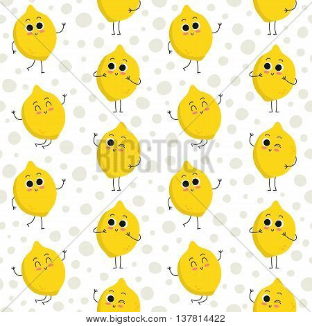 Lemon vector seamless pattern with cute fruit characters on dotted background