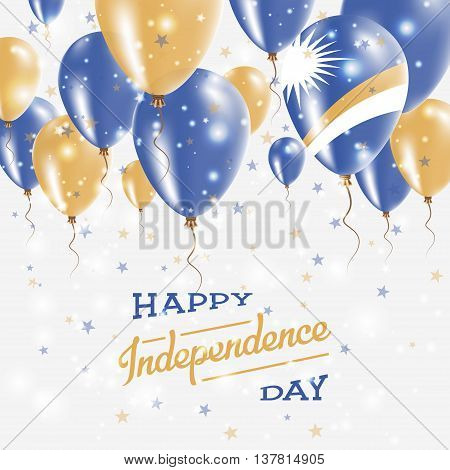 Marshall Islands Vector Patriotic Poster. Independence Day Placard With Bright Colorful Balloons Of