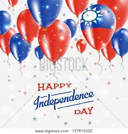 Taiwan, Republic Of China Vector Patriotic Poster. Independence Day Placard With Bright Colorful Bal