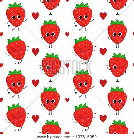Strawberry vector seamless pattern with cute fruit characters and hearts isolated on white