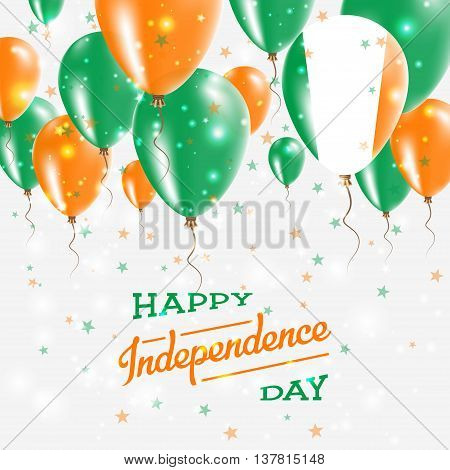 Ireland Vector Patriotic Poster. Independence Day Placard With Bright Colorful Balloons Of Country N