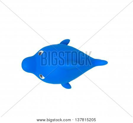 Bathroom Floating Toy Shark isolated on white, no shadow. with clipping path