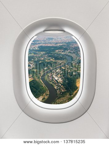 Looking Out The Window Of A Plane To The City Of Prague