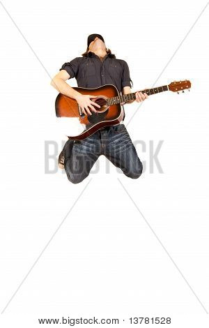 Passionate Guitarist Jumps