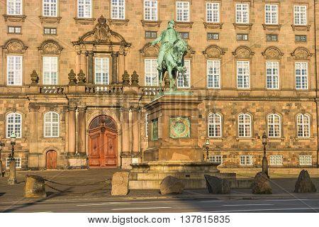 Christiansborg Palace Illuminated In Early Morning, Copenhagen, Denmark