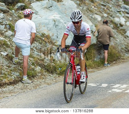 Col de la Croix de Fer France - 25 July 2015:The Belgian cyclist Stijn Devolder of Trek Factory Racing Team climbing to the Col de la Croix de Fer in Alps during the stage 20 of Le Tour de France 2015.