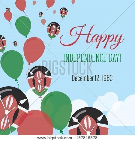 Independence Day Flat Greeting Card. Kenya Independence Day. Kenyan Flag Balloons Patriotic Poster.