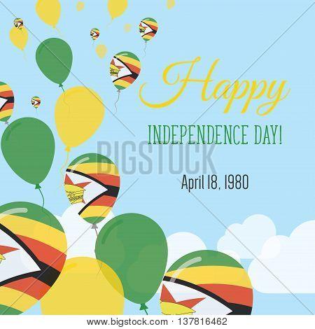 Independence Day Flat Greeting Card. Zimbabwe Independence Day. Zimbabwean Flag Balloons Patriotic P