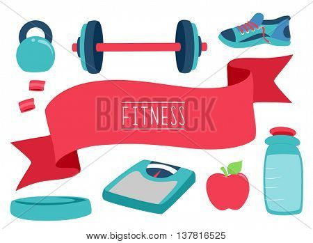 Illustration Featuring Fitness Related Elements