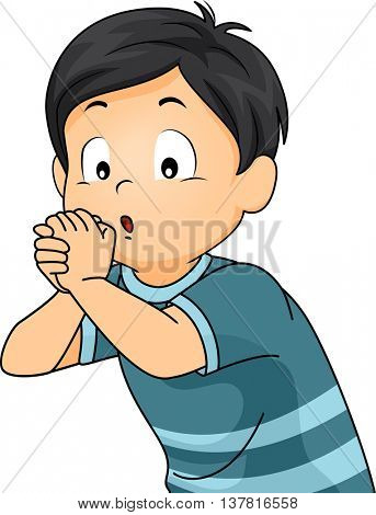 Illustration of a Boy Playing an Imaginary Flute