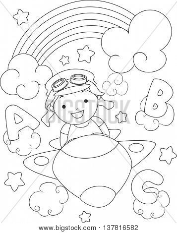 Black and White Coloring Page Illustration of a Boy Dressed as an Aviator